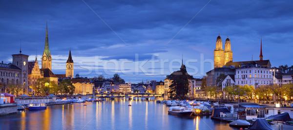 Zürih panoramik görüntü tan mavi saat Stok fotoğraf © rudi1976