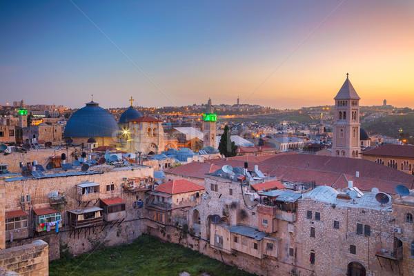 エルサレム 景観 画像 旧市街 イスラエル 日の出 ストックフォト © rudi1976