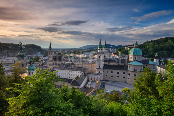 Áustria cityscape imagem catedral primavera pôr do sol Foto stock © rudi1976
