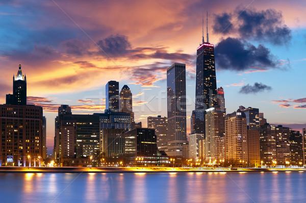 Chicago linha do horizonte centro da cidade crepúsculo céu edifício Foto stock © rudi1976