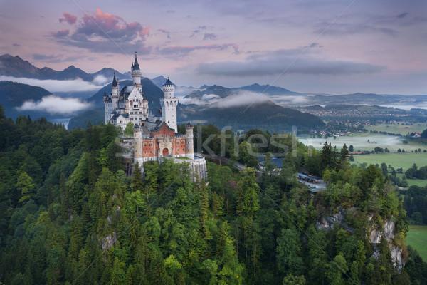 Замок Нойшванштайн мнение Германия туманный лет утра Сток-фото © rudi1976