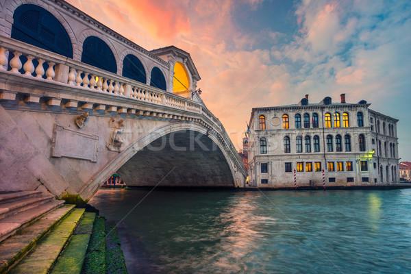 Venedik Cityscape görüntü ünlü köprü gökyüzü Stok fotoğraf © rudi1976