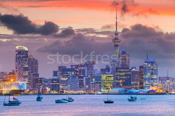Városkép kép sziluett Új-Zéland víz tenger Stock fotó © rudi1976