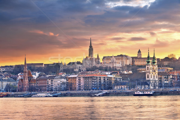 Будапешт изображение Skyline весны закат Сток-фото © rudi1976