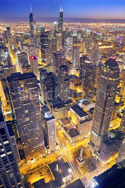 Chicago centre-ville crépuscule élevé au-dessus Photo stock © rudi1976