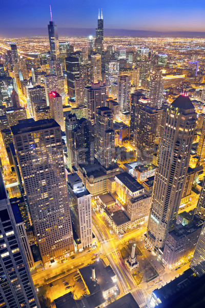 Chicago luchtfoto centrum schemering hoog boven Stockfoto © rudi1976
