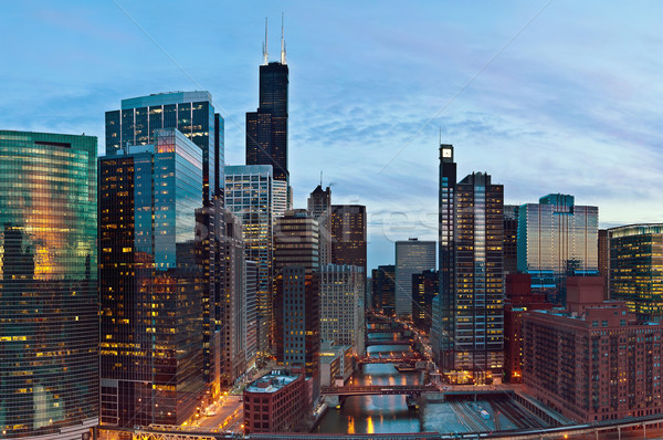 şehir Chicago görüntü şehir merkezinde akşam karanlığı Stok fotoğraf © rudi1976