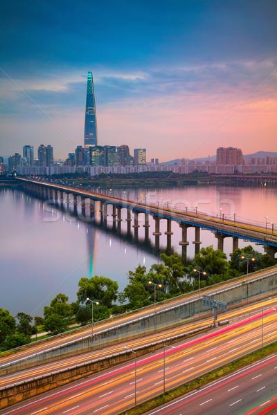 Сеул Cityscape изображение реке лет закат Сток-фото © rudi1976