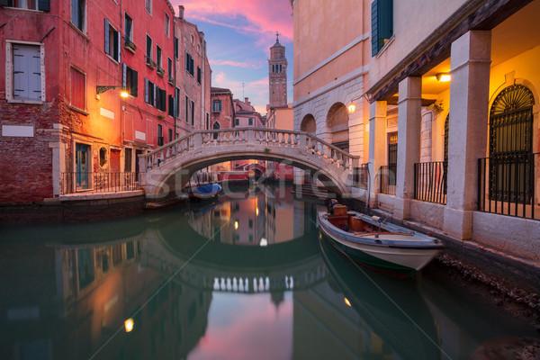 Венеция Cityscape изображение узкий драматический закат Сток-фото © rudi1976