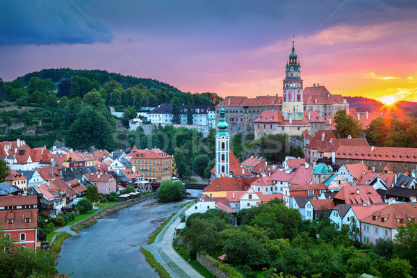 Cityscape imagem República Checa verão pôr do sol Foto stock © rudi1976