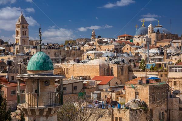 Kudüs Cityscape görüntü Hristiyan çeyrek Stok fotoğraf © rudi1976