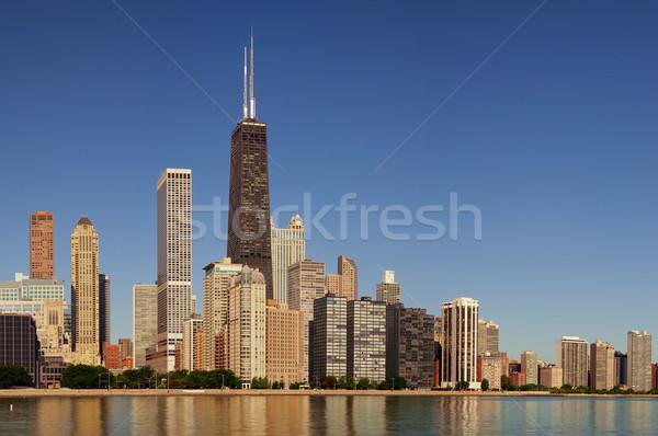 Stok fotoğraf: Chicago · ufuk · çizgisi · görüntü · sabah · ışık · Bina