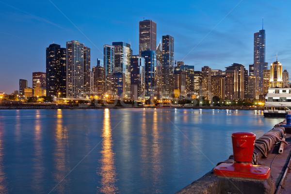 Chicago ufuk çizgisi şehir merkezinde akşam karanlığı plaj gökyüzü Stok fotoğraf © rudi1976
