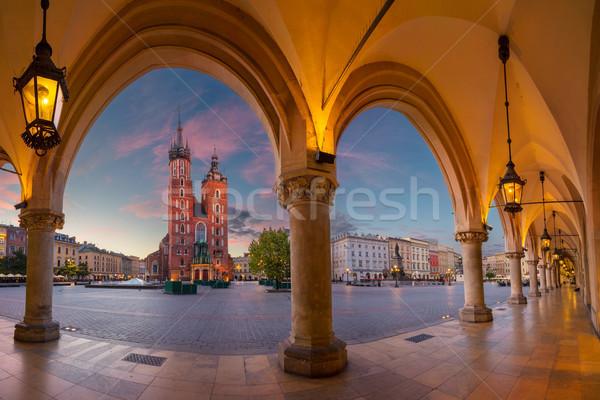 Krakkó kép piac tér égbolt tájkép Stock fotó © rudi1976