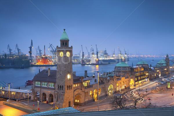 Hamburgo Alemania imagen puerto noche Foto stock © rudi1976