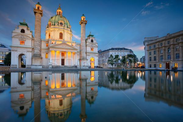 Wiedeń Austria Cityscape obraz kościoła zmierzch Zdjęcia stock © rudi1976
