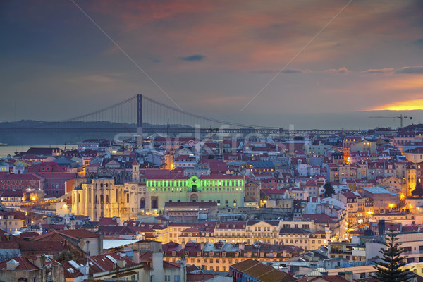 Lisboa imagem Portugal crepúsculo azul hora Foto stock © rudi1976
