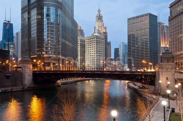 Chicago imagem centro da cidade edifício ponte azul Foto stock © rudi1976