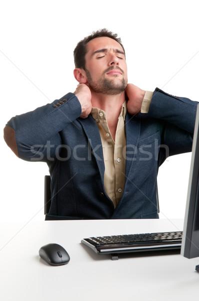 Gündelik işadamı ağrı boyun oturma büro Stok fotoğraf © ruigsantos