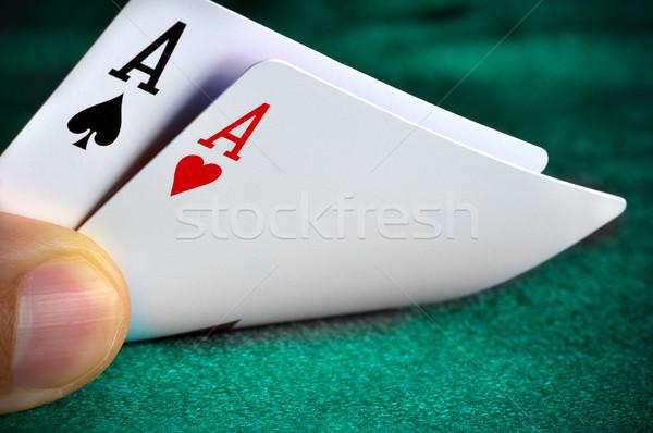 カード 男 演奏 ポーカー 手 カジノ ストックフォト © ruigsantos