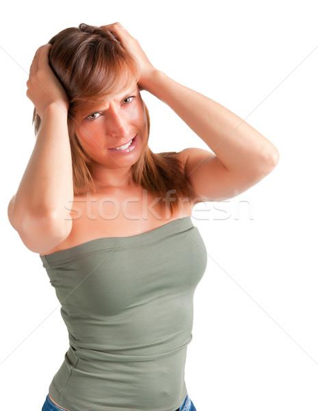 Hoofdpijn vrouw lijden holding handen meisje hoofd Stockfoto © ruigsantos