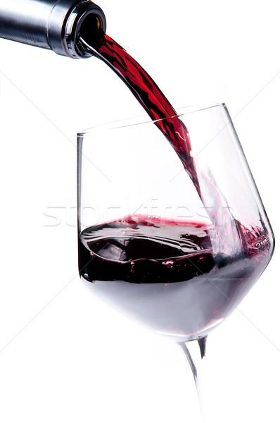 Rode wijn fles wijnglas wijn glas Stockfoto © ruigsantos