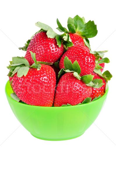 Kom aardbeien groene Rood vruchten gezondheid Stockfoto © ruigsantos