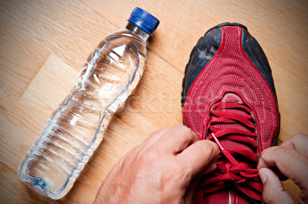 Pronto jogging jogger home bottiglia d'acqua Foto d'archivio © ruigsantos