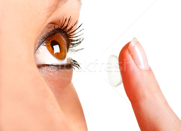 Kontaktlencse közelkép nő szem lány szépség Stock fotó © ruigsantos
