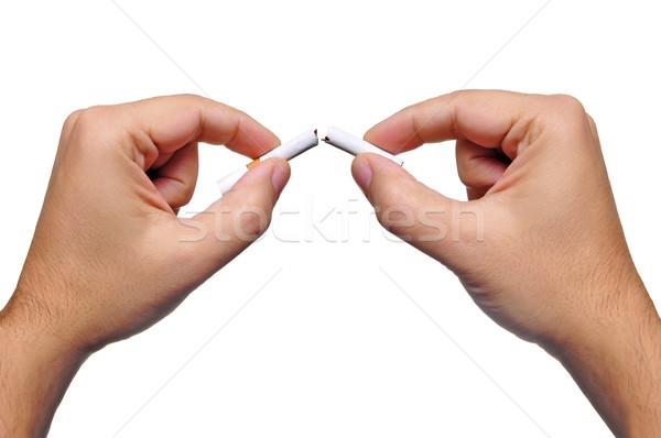 Fumador dois mãos quebrar cigarro metade Foto stock © ruigsantos