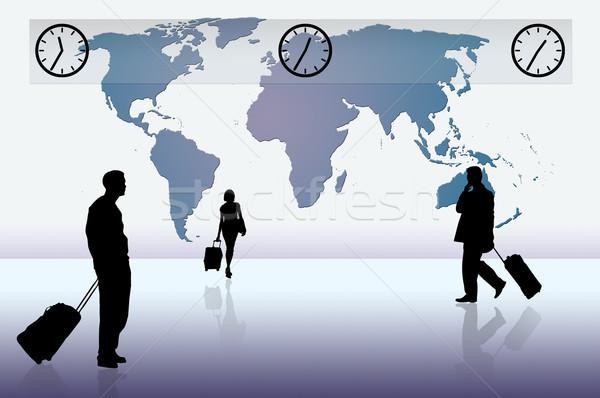 世界 シルエット ビジネス 青 世界地図 ストックフォト © ruigsantos