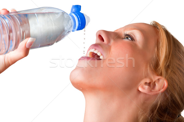 Kadın içme suyu plastik şişe damla su Stok fotoğraf © ruigsantos