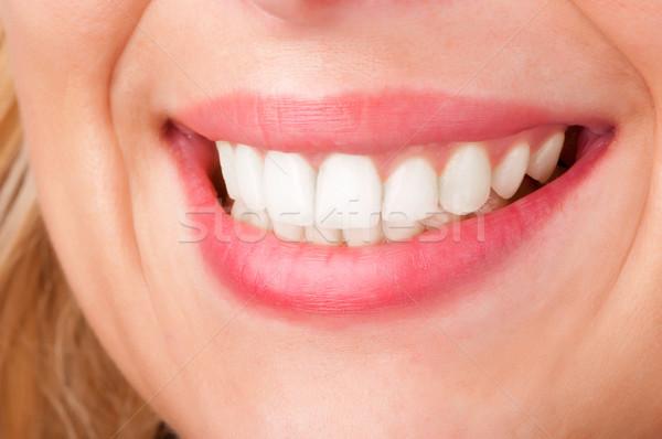 唇 笑みを浮かべて 口 白 少女 ストックフォト © ruigsantos