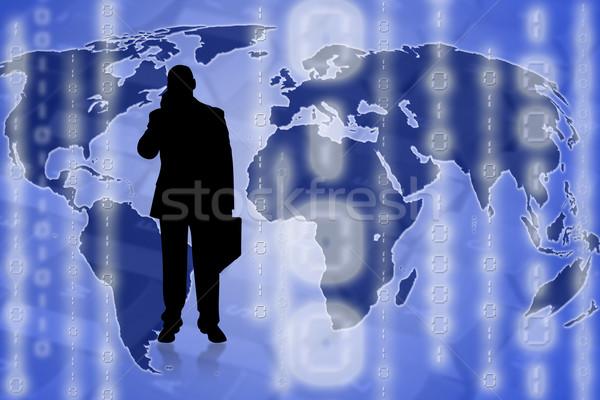 Wereld reiziger illustratie zakenman top wereldkaart Stockfoto © ruigsantos