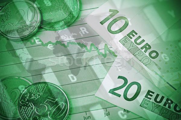 Crisi finanziaria Coppia monete top grafico Foto d'archivio © ruigsantos