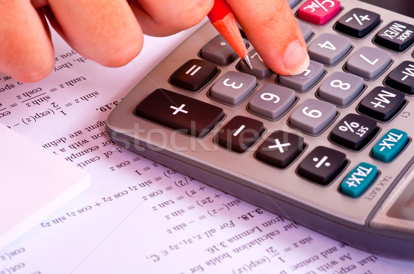 電卓 数学 学生 赤 鉛筆 教育 ストックフォト © ruigsantos