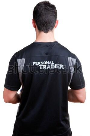Kişisel personal trainer el yalıtılmış beyaz vücut Stok fotoğraf © ruigsantos