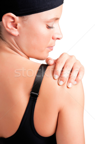Schouderpijn jonge vrouw pijn schouder vrouw medische Stockfoto © ruigsantos