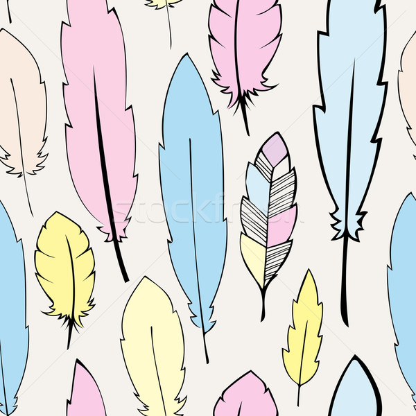 Stock photo: Seamless  pastel bohemian feathers illustration
