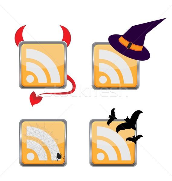 Stock photo: Orange Colored RSS Icon