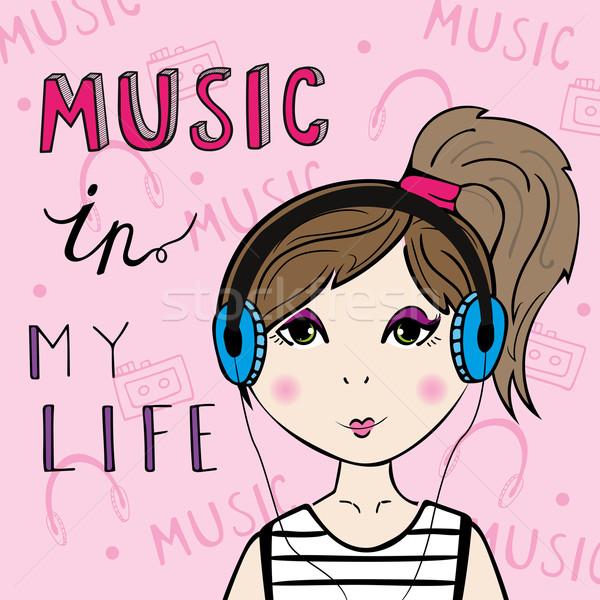 Dziewczyna słuchanie muzyki strony projektu farbują Zdjęcia stock © rumko