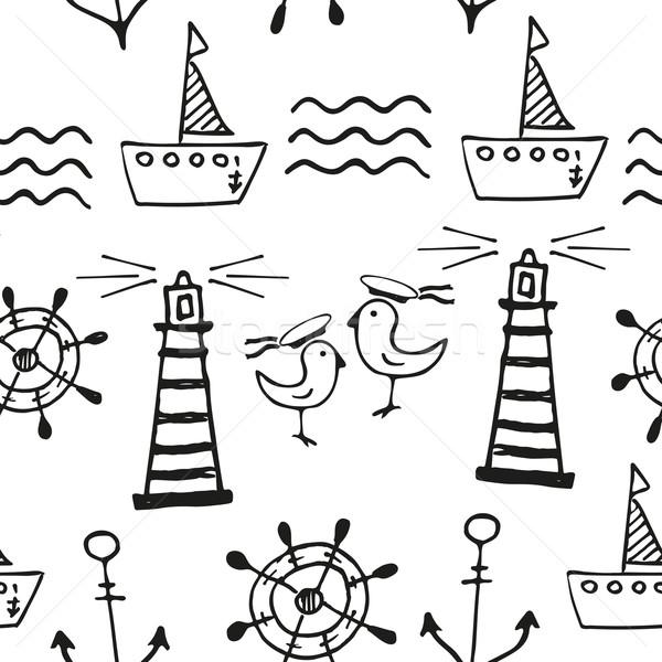Stok fotoğraf: Deniz · karalamalar · siyah · beyaz · el · balık