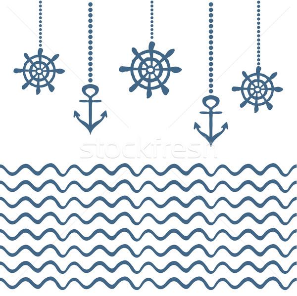 Blue and white nautical template Stock photo © rumko