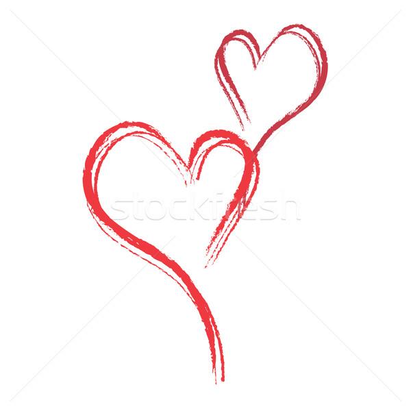 Kırmızı tebeşir kalpler yalıtılmış beyaz sevmek Stok fotoğraf © rumko