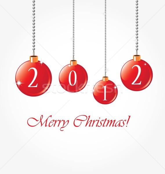 красный Рождества гирлянда изолированный белый Сток-фото © rumko