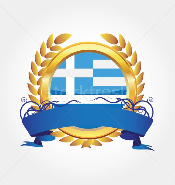 Greece shiny button flag with golden frame Stock photo © rumko