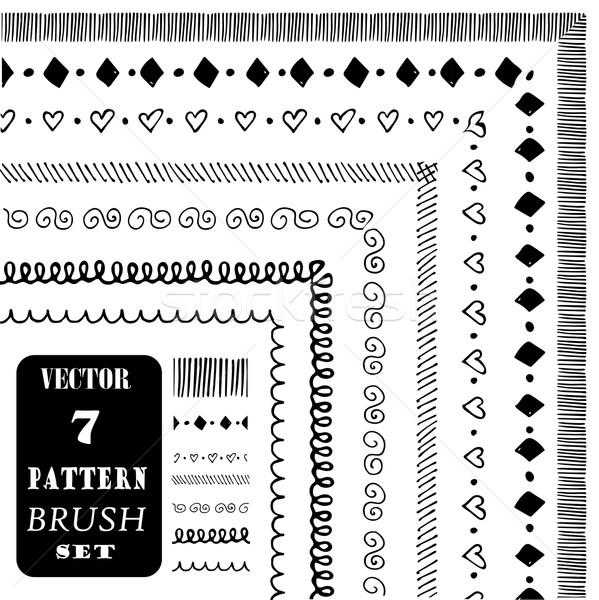 Hand drawn decorative vector pattern brushes Stock photo © rumko