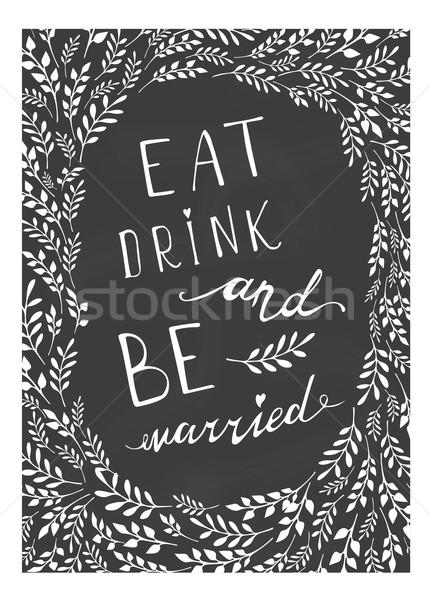 Poster düğün yemek içmek evli stilize Stok fotoğraf © rumko