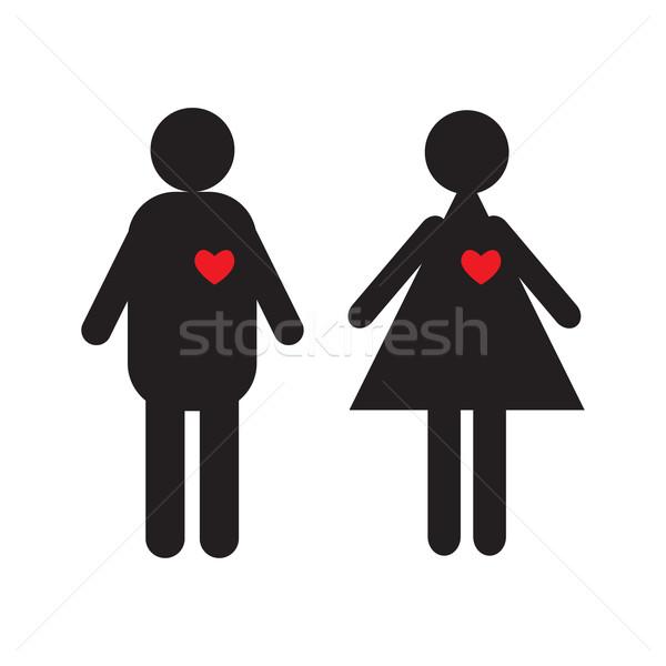Para miłości ikona odizolowany biały rodziny Zdjęcia stock © rumko