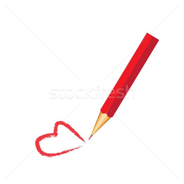 Kırmızı kalem kalp yalıtılmış beyaz okul Stok fotoğraf © rumko
